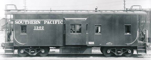 An SP bay window caboose with the same Bettendorf trucks.
